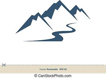 volcan, gabarit, conception, vecteur, ligne, logo, ruisseau, illustration, montagne