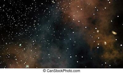voler, étoile, champs, nébuleuse, profond, par, space.