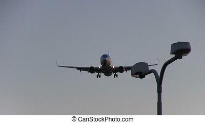 voler, aérien, avion, crépuscule