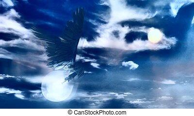 voler, ampoule, ciel nuageux, lumière