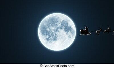 voler, animation, lune, version, claus, santa, chroma, 4k, renne, beau, 3d, clã©, included., traîneau, fond