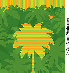 &, voler, arbre, exotique, vecteur, paume, jungle, fond, humming-bird, vert, rayé, forêt