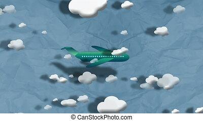 "voler, avion, clouds"", par, ""cartoon"