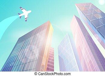 voler, bâtiments, affaires légères, gratte-ciel, urbain, centre, vue, soleil, high-raise, bokeh, avion