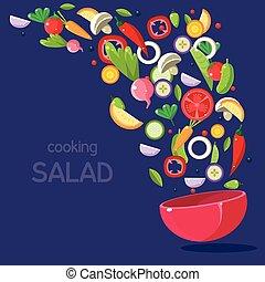 voler, bol, salade, ingrédients