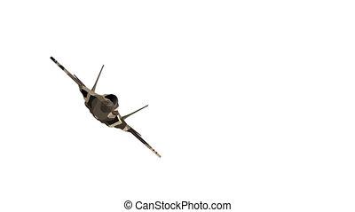 voler, camouflage., warplane., vidéo, devant, avion militaire, vue., hd