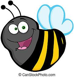 voler, caractère, dessin animé, abeille, mascotte