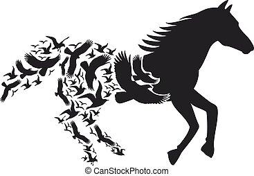 voler, cheval, vecteur, oiseaux