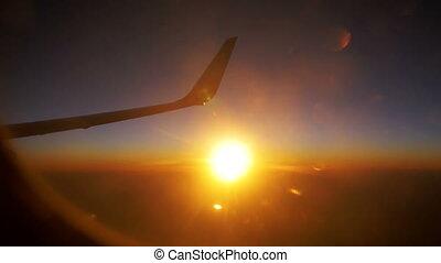 voler, ciel, contre, avion, coucher soleil, fond, aile