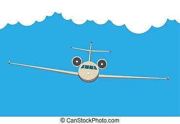 voler, ciel, devant, avion, civil, machine., fond, vue, clouds., avion