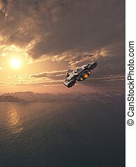 voler, coucher soleil, vaisseau spatial