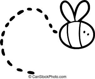 voler, dessin animé, abeille