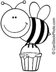 voler, esquissé, abeille