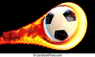 voler, football, brûler, fond, balle, noir