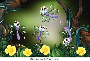 voler, forêt, profond, libellules