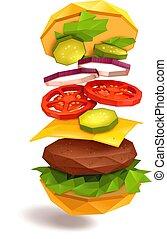 voler, hamburger, ingrédients