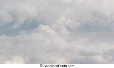 voler, journée, nuages, au-dessus, vue, avion, formulaire, fenêtre