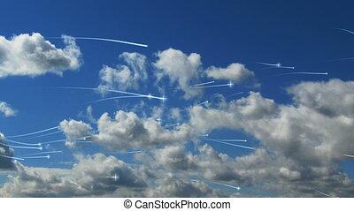 voler, nuages, astérisques
