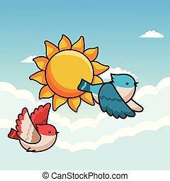 voler, oiseaux, dessin animé