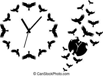 voler, oiseaux, vecteur, horloge