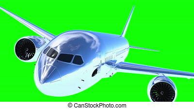 voler, render, avion, 3d, vert, screen.