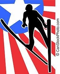 voler, silhouette, skieur