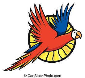 voler, soleil, perroquet, logo, macaw, clair