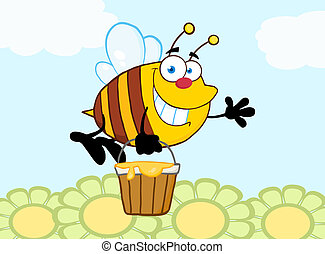 voler, sourire, fleurs, sur, abeille