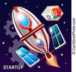 voler, space., fusée, illustration, démarrage, étoiles, projet, business, vecteur, dessin animé, style