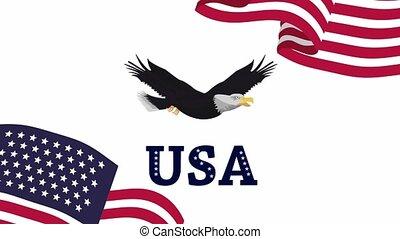 voler, uni, amérique, aigle, etats, drapeaux