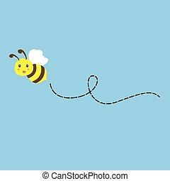 voler, vecteur, abeille