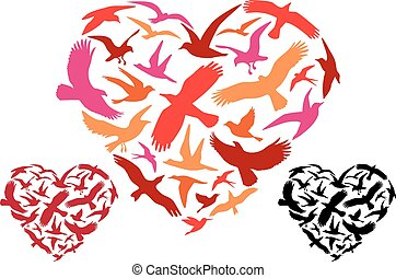 voler, vecteur, oiseaux, coeur