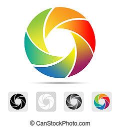 volet, logo, appareil photo, coloré
