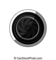 volet, silhouette, couleur, autocollant, lentille, réaliste, appareil photo, fermé, analogue