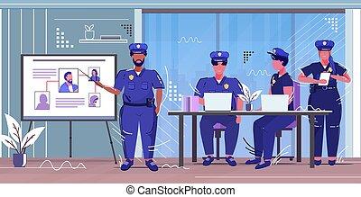voleur, croquis, africaine, horizontal, droit & loi, entiers, planche, collègues, sécurité, américain, présentation, officier, information, uniforme, policier, police, service, justice, longueur, autorité, photo, concept