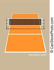 volley-ball, illustration, filet, vecteur, vue, élévation, tribunal