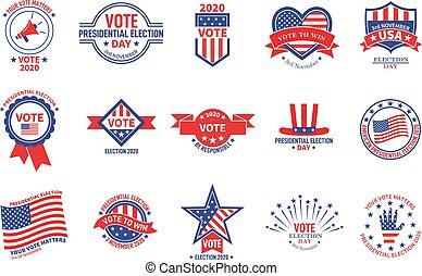 vote., badges., stickers., président, usa, politique, élection, vote, vecteur, présidentiel, campagne, drapeau américain, patriotique, électeur, bannières, jour