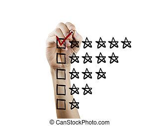 vote, cinq, étoiles, main