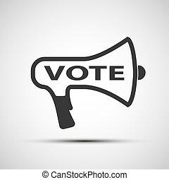 vote, porte voix, mot, icône
