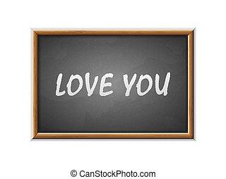 vous, écrit, tableau noir, amour