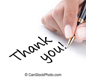 vous, main, remercier, écriture