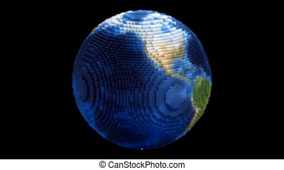 voxel, globe, terre planète, filer, boucle