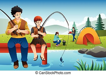 voyage, aller, camping famille, peche