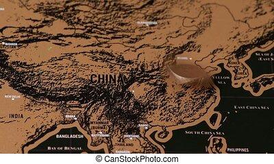 voyage, asie, égratignure, monnaie, carte, dollar, une, noir, porcelaine