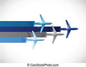voyage, avion, conception, illustration