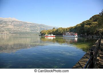 voyage, bateau, lac