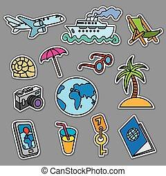 voyage, concept, autocollants