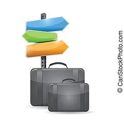 voyage, concept, conception, illustration, valise
