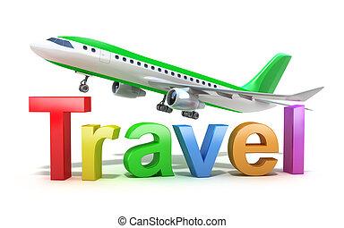 voyage, concept, mot, avion