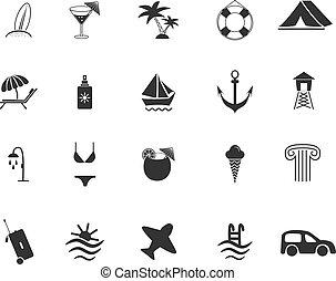 voyage, ensemble, plage, icônes